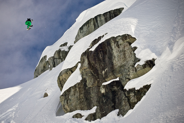 Kale Stephens spins of a cliff near Pemberton British Columbia.